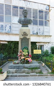 Alupka, Yalta, Crimea, Russia-September 12, 2018: Bust of twice hero of the Soviet Union guard major Amet Khan Sultan near the memorial Museum dedicated to him