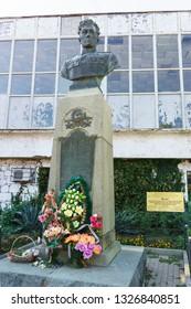 Alupka, Yalta, Crimea, Russia-September 12, 2018: Bust of twice hero of the Soviet Union guard major Amet Khan Sultan near the Museum dedicated to him