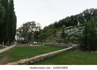 """Alupka, Yalta, Crimea, Russia-September 12, 2018: Landscaped area of the reconstructed hotel complex """"Green Cape"""" in the resort city"""