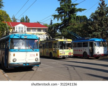 ALUSHTA, RUSSIA - August 29, 2015: Trolleybus station