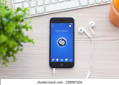 Alushta, Russia - October 25, 2014: iPhone 6 Space Gray with music service Shazam on the screen. iPhone 6 was created and developed by the Apple inc.