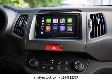 Alushta, Russia - September 20, 2018: Car Play on the multimedia system with Google Maps on the screen. Apple Car Play was created and developed by the Apple inc.