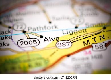 Alva. Kentucky. USA on a geography map
