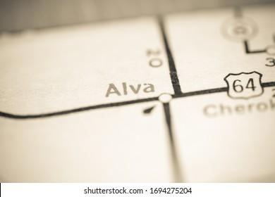 Alva. Oklahoma. USA on a geography map