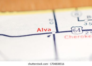 Alva. Oklahoma. USA on a geography map.