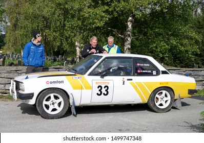 ALVDAL, NORWAY - SEPTEMBER 07, 2019: The start and premiere of Rally Tron. Start number 33