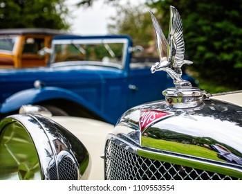 Alvis Car silver hood ornament and car mascot taken in Puddletown, Dorset, UK on 10 June 2018