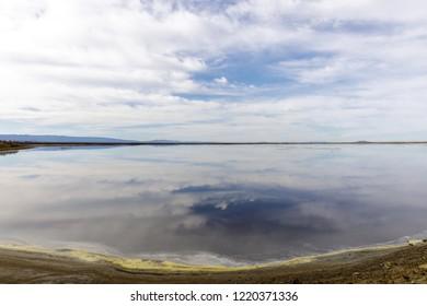 Alviso Slough Reflections in San Francisco Bay. Alviso Marina County Park, Santa Clara County, California, USA.