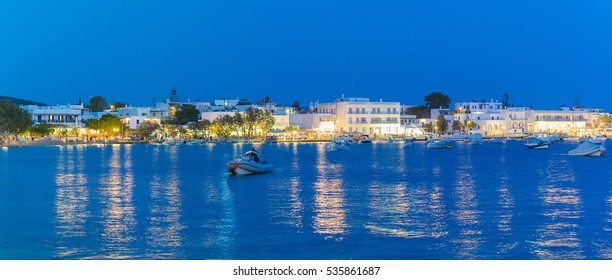 Alyki local village at Paros island in Greece at blue hour.