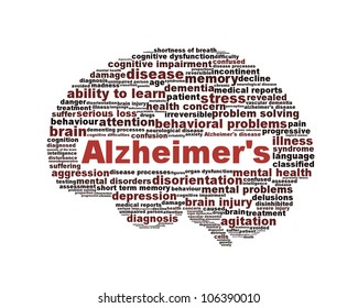 Alzheimer's disease symbol isolated on white background. Dementia mental health problem design