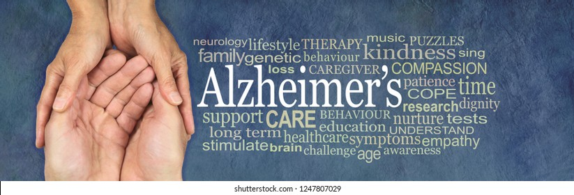 Alzheimer's Word Cloud - female hands gently cupped around male cupped hands beside an ALZHEIMER'S word cloud on a rustic petrol blue  background