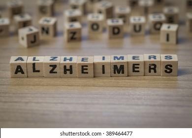 Alzheimer's written in wooden cubes on a table