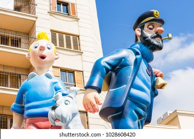 ALZIRA,SPAIN - MARCH 16: Las Fallas,papermache models are constructed then burnt in the traditional celebration in praise of St Joseph on March 16,2017 in Alzira,Valencia,Spain.