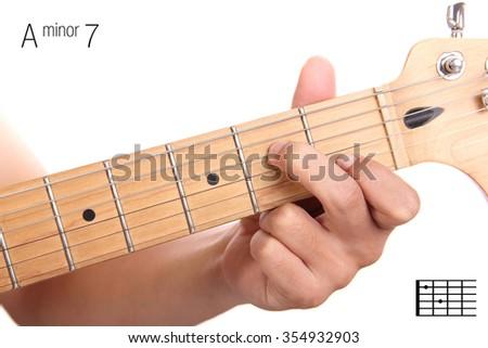Am 7 Minor Seventh Keys Guitar Tutorial Stock Photo Edit Now