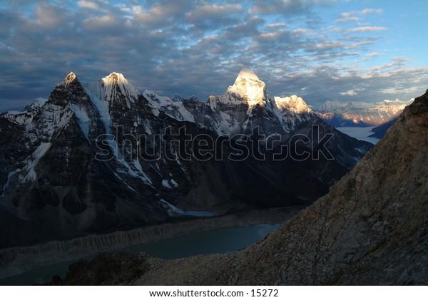 Ama Dablam and glacier, Nepal Himalaya