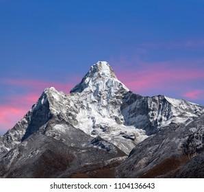 Ama Dablam Mount - view from Sagarmatha National Park, Everest region, Nepal Himalaya