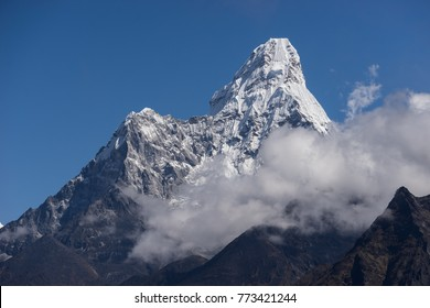 Ama Dablam mountain peak from Namche Bazaar view point, Everest region, Nepal, Asia