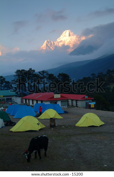 Ama Dablam seen from the steps of the Tengboche Monastery
