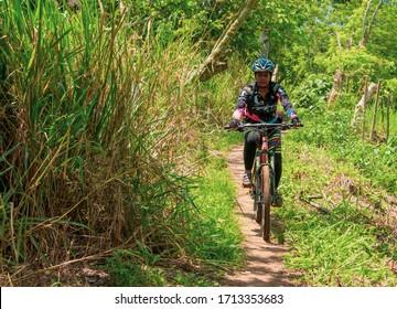 Amaga, Antioquia / Colombia. March 31, 2019. Person practicing mountain biking sport