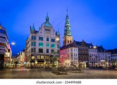 Amagertorv Square and Stork Fountain in the Old Town of Copenhagen, Denmark