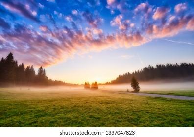 Amaizing sunrise view on Durmitor mountains, National Park, Mediterranean, village Zabljak,  Montenegro, Balkans, Europe.  Strange misty pasture in the sunlight.  Bright summer view on alpine valley.