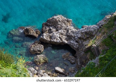 Amalfi, Campania, Italy 12 March 2017. Representation of the crystal clear water of the famous Amalfi.