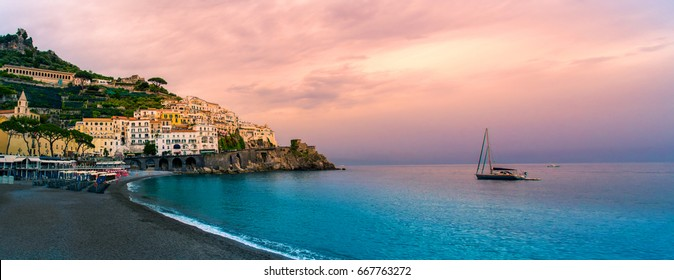 amalfi coast. Beautiful sunset at Amalfi coast in panoramic.