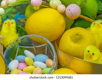 Amalfi Coast /Italy - Feb 9, 2019: Easter Candies and Chicks