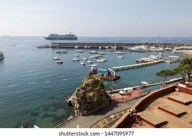 Amalfi Coast, Italy - June 16, 2017: View of marina in Amalfi. Amalfi is a charming resort town on the scenic Amalfi Coast of Italy.