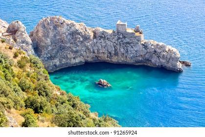 Amalfi coast on Mediterranean sea south of Naples, Italy