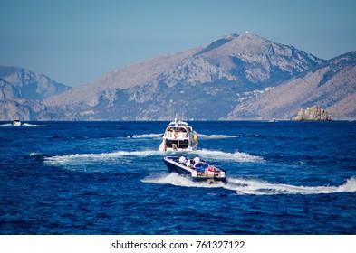 amalfi coast seascape with boats underway