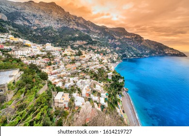 Amalfi Coast, Sorrento. aerial view of Positano, Italy.