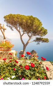 Amalfi Coast, view of the seaside from a terrace in Ravello. Campania, Italy