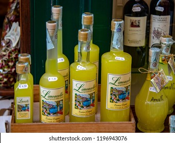 Amalfi, Italy - 09/22/2018: Bottles of Limoncello in the Town of Amalfi Along the Amalfi Coast in Italy