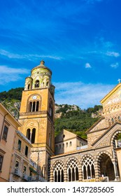 Amalfi, Italy - April 18, 2019: View of the Cathedral of Sant'Andrea from the Piazza del Duomo at sunset.