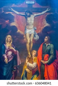 AMALFI, ITALY - JULY 17, 2016: Painting of the Crucifixion of Jesus in the Amalfi Cathedral.