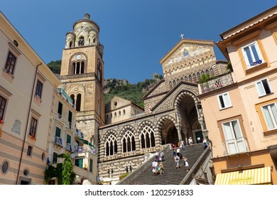 AMALFI, ITALY - July 2, 2016: Amalfi Cathedral with tourists in the summer, Amalfi Coast, Italy