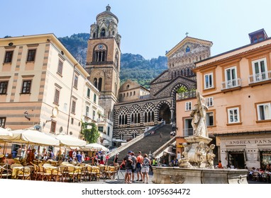 Amalfi, Italy - June 13, 2017: View of the Cathedral of St Andrea and the steps leading to it from the Piazza del Duomo. Amalfi, Italy