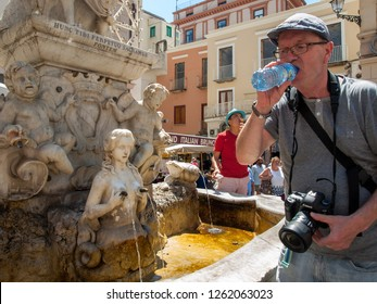 Amalfi, Italy, June 13, 2017: Fountain of Saint Andrew with naughty Nymph in Amalfi . Campania .Italy