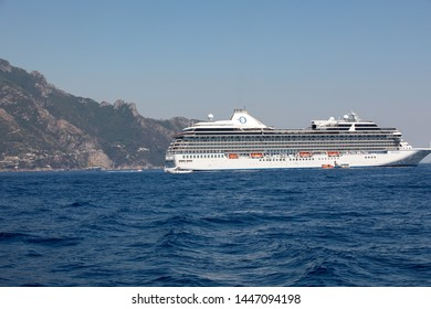 Amalfi, Italy - June 13, 2017: Cruise liner in the Amalfi coast. Campania, Italy