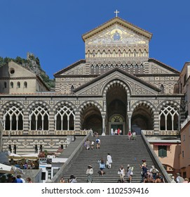 AMALFI, ITALY - JUNE 27, 2014: Tourists at Apostle Saint Andrew Cathedral Stairway in Amalfi, Italy.
