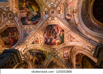 AMALFI, ITALY  MAY 11, 2014 : Interiors and details of the Duomo, cathedral of Amalfi, built year 1208, campania, Italy, May 11, 2014,  in  Amalfi, Italy
