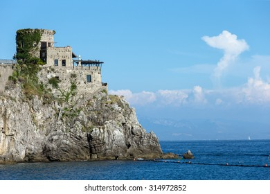 Amalfi, Province of Salerno, ITALY - August 26, 2015: The famous Hotel and Restaurant Luna with its medieval architecture atrracts thousands of tourists every year
