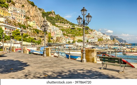 Amalfi - seaside town in the Gulf of Salerno in the Italian province of Salerno, the heart of the Amalfi coast - a UNESCO World Heritage Site. Italy.