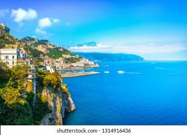 Amalfi town and coast, panoramic view. Italy, Europe