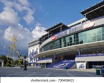 AMALIE ARENA, TAMPA, FLORIDA, USA - July 2017: The Amalie Arena is home to the Tampa Bay Lightning NHL ice hockey team and is also the venue for music performances and other sporting events.