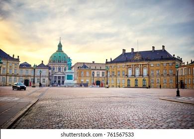 Amalienborg, royal danish family resident, with town square in Copenhagen, Denmark