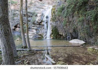 Amanaderos in Riodeva a waterfall spot reserve in Teruel Aragon Spain