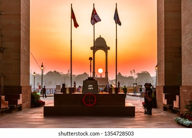 Amar Jawan Jyoti, India Gate, Delhi -March, 2019: It is an Indian memorial constructed after the Indo-Pakistani War of 1971 to commemorate soldiers of Indian Armed Forces who died invading Pakistan.
