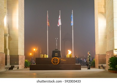 Amar Jawan Jyoti, India Gate, Delhi -October 2016: It is an Indian memorial constructed after the Indo-Pakistani War of 1971 to commemorate soldiers of Indian Armed Forces who died invading Pakistan.